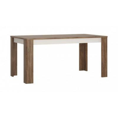 Étkezőasztal nagyobbítható, 160x76 cm, alpin fehér, barna stirling tölgy - TOUNDRA